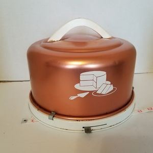 Vtg Rose Gold Copper Metal Cake Carrier